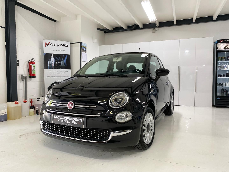 Fiat 500 zwart cardetailing