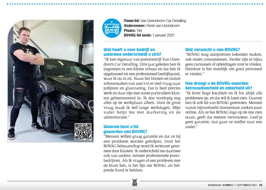 Bovag krant Van IJzendoorn Car Detailing